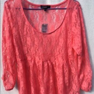 WEAVERS  Sz XL CORAL ALL LACE TOP